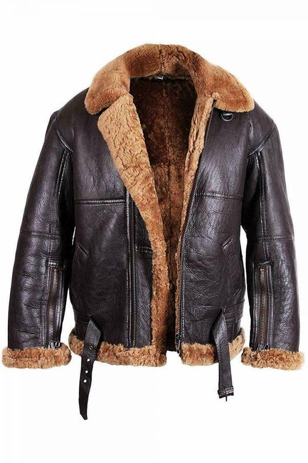 Mens B6 Bomber Aviator Pilot Real Sheepskin Shearling Brown leather Jacket