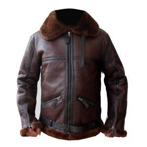 Men's Aviator RAF B6 Sheepskin Fur Shearling Leather Bomber Flying Jacket