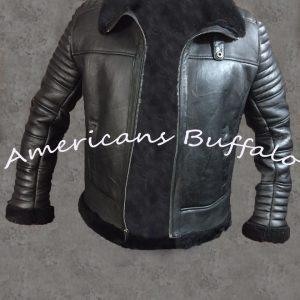 Mens B3 Bomber Aviator Flying Black fur Sheepskin Shearling Leather Jacket