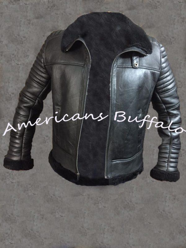 Mens B3 Bomber Aviator Flying Black fur Sheepskin Shearling Leather Jacket