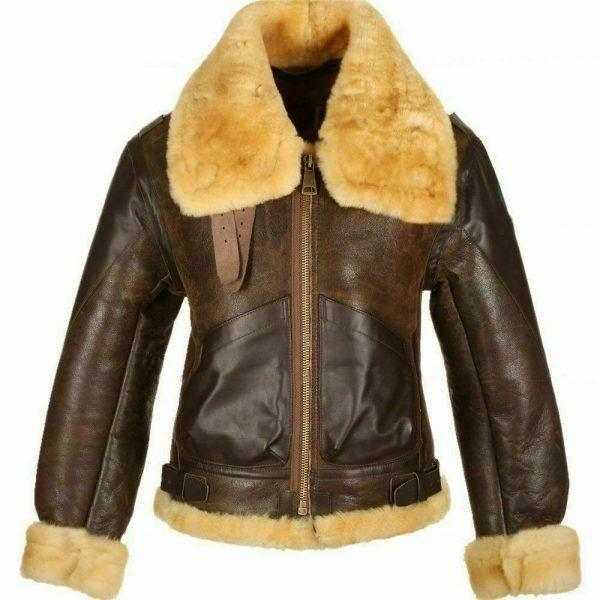 Mens RAF B3 Brown Sheepskin Bomber Shearling Two Tone Style Real Leather Jacket