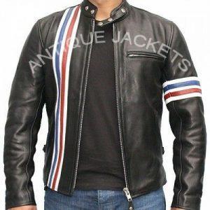 Peter Fonda EASY RIDER Black Vintage Motorcycle Biker REAL Leather Jacket