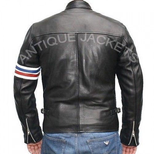 Peter Fonda EASY RIDER Black Vintage Motorcycle Biker REAL Leather JacketB