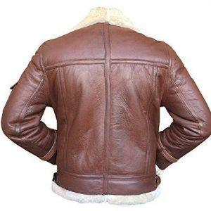 MEN AVIATOR RAF B3 REDDISH REAL SHEEPSKIN FUR LEATHER BOMBER FLYING JACKETB