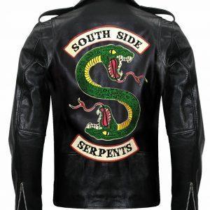 Mens Leather Jacket Black Southside Serpents Riverdale Biker Genuine Leather