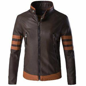 XMEN 1 WOLVERINE BROWN BIKER LEATHER JACKET HALLOWEEN LOGAN COSTUMEF