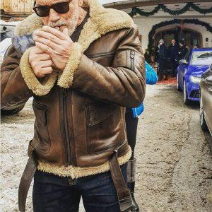 Men Arnold Schwarzenegger Winter Aviator RAF B6 Shearling Real Sheepskin Leather Bomber Flying Jacket
