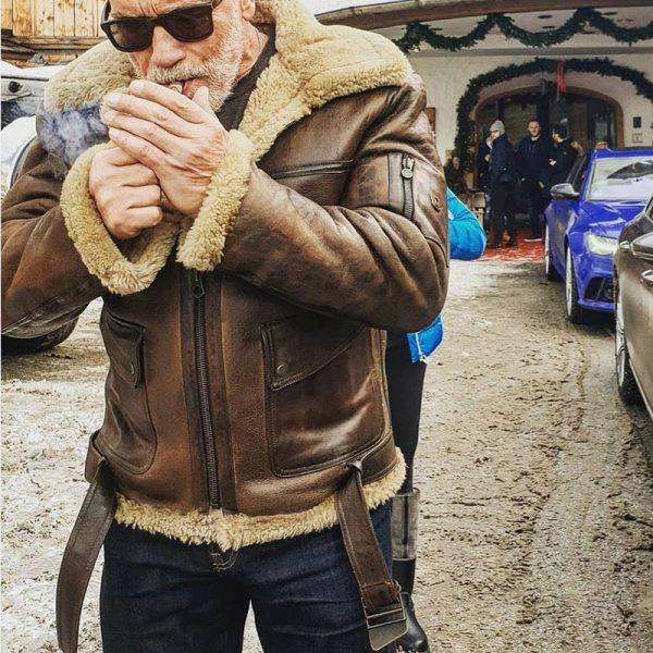 Men Arnold Schwarzenegger Winter Aviator RAF B6 Shearling Real Sheepskin Leather Bomber Flying Jacket