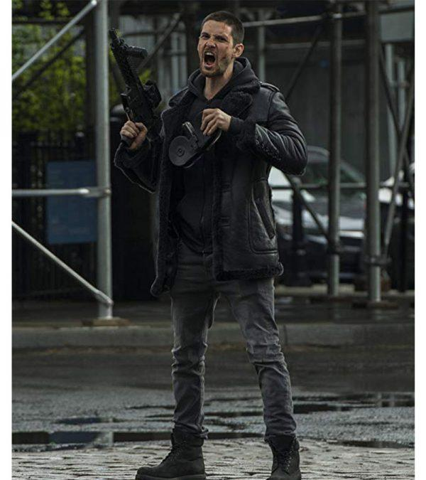 Ben Barnes The Punisher Season 2 Real Sheepskin Shearling Black Leather Jacket3
