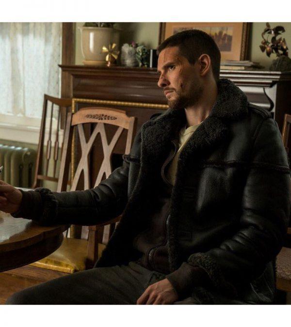 Ben Barnes The Punisher Season 2 Real Sheepskin Shearling Black Leather Jacket2