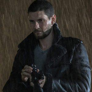 Ben Barnes The Punisher Season 2 Real Sheepskin Shearling Black Leather Jacket