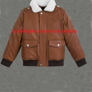 Mens B3 Bomber Style Aviator Brown Bomber Fur Collard Genuine Leather Jacket