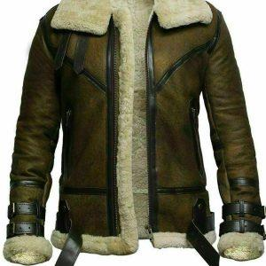 Mens B3 Bomber USAF Dukin Green Real Sheepskin Shearling Leather Jacket