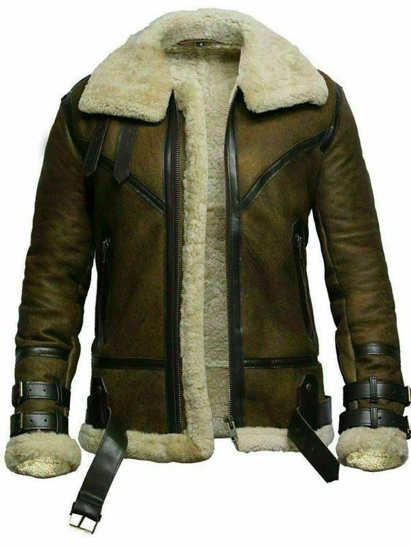 Mens B3 Bomber USAF Dukin Green Real Sheepskin Shearling Leather Jacket