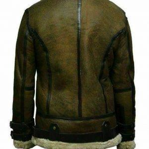 Mens B3 Bomber USAF Dukin Green Real Sheepskin Shearling Leather JacketB