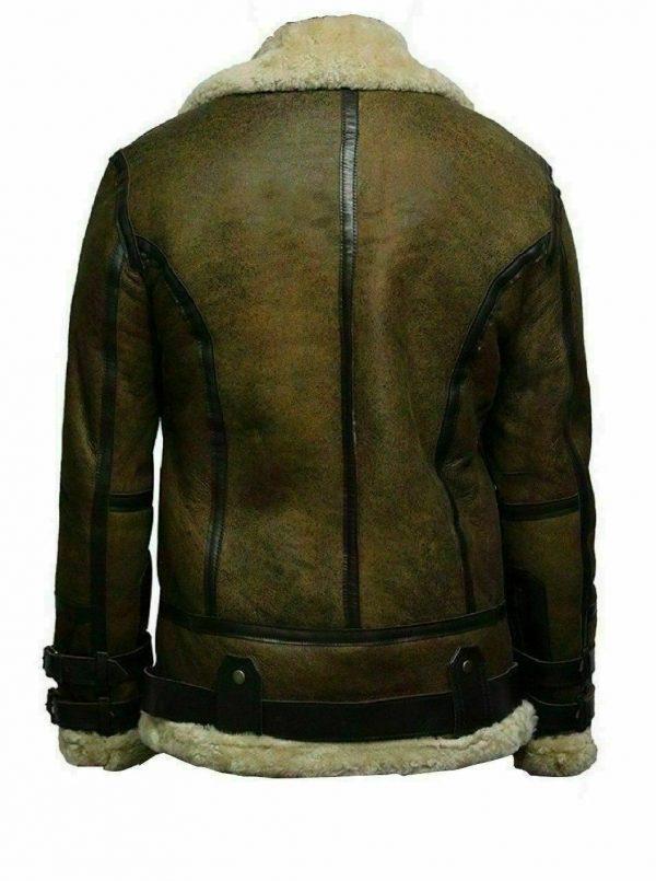 Mens B3 Bomber USAF Dukin Green Real Sheepskin Shearling Leather JacketB
