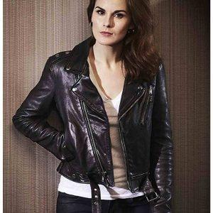 Good Behavior Michelle Dockery Slimfit Biker Retro Soft Black Leather Jacket