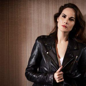 Good Behavior Michelle Dockery Slimfit Biker Retro Soft Black Leather Jacket1