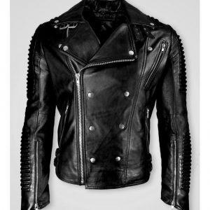 Men Black Cafe Racer Marlon Brando Slimfit Retro Motorcycle Black Leather Jacket