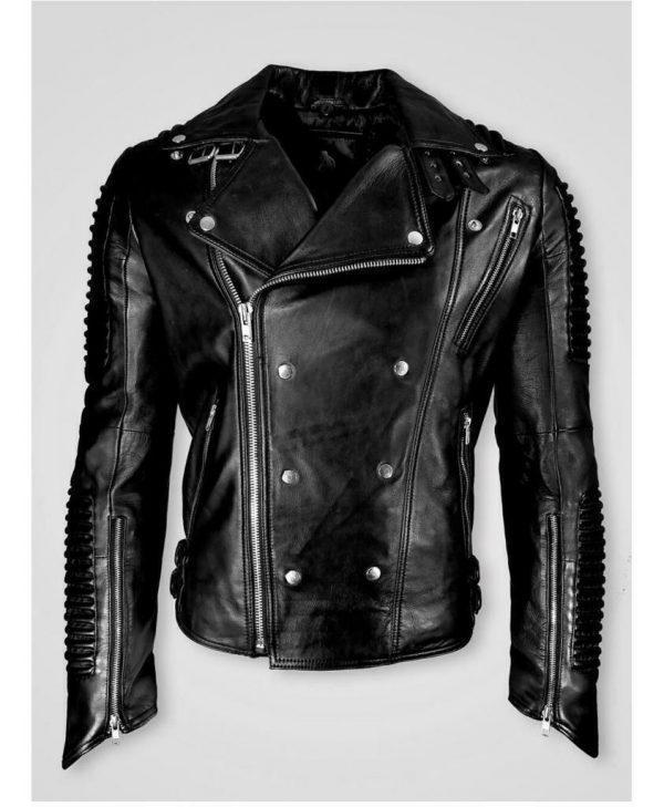 Men Black Cafe Racer Marlon Brando Slimfit Retro Motorcycle Black Leather Jacket