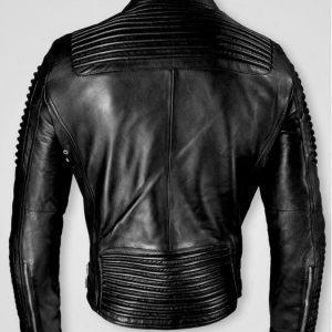 Men Black Cafe Racer Marlon Brando Slimfit Retro Motorcycle Black Leather JacketB