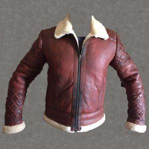 Men's B3 Bomber Vintage Diamond Quilted Real Shearling Sheepskin Leather Jacket
