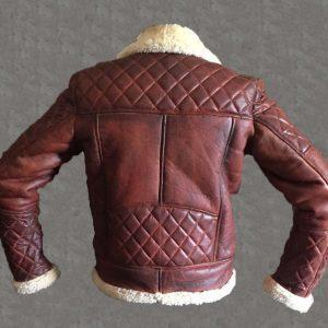 Men's B3 Bomber Vintage Diamond Quilted Real Shearling Sheepskin Leather JacketB