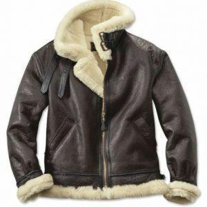 Mens B3 Aviator Real Shearling Black Sheepskin Leather Flight Bomber Jacket
