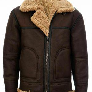 MEN B3 AVIATOR REAL SHEARLING BROWN SHEEPSKIN LEATHER FLIGHT BOMBER JACKET