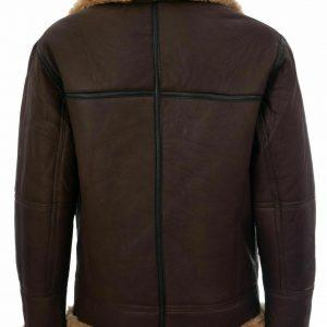 MEN B3 AVIATOR REAL SHEARLING BROWN SHEEPSKIN LEATHER FLIGHT BOMBER JACKET1
