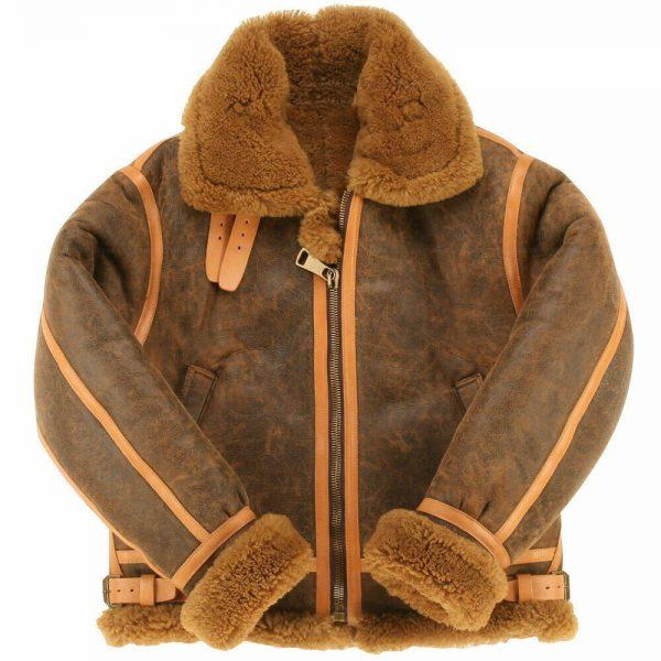 Men Winter Aviator RAF B6 Shearling Real Sheepskin Leather Bomber Flying Jacket