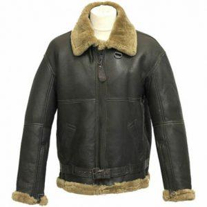 Mens B3 Bomber USAF WWII Pilot Real Sheepskin Shearling Black Leather Jacket
