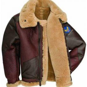 Mens B6 Bomber USAF WWII Pilot Real Sheepskin Shearling Leather Jacket