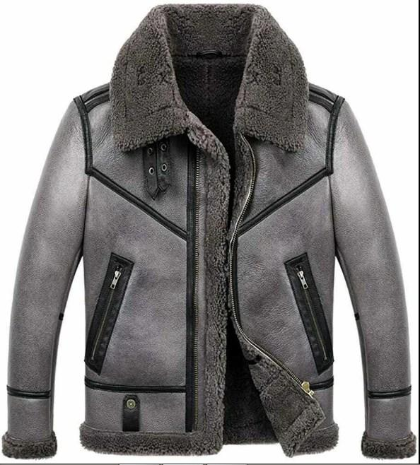 Mens B3 Bomber Aviator WWII Pilot Real Sheepskin Shearling Silver Leather Jacket