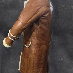 MEN B3 BOMBER AVIATOR WWII PILOT POLICE RETRO SHEEPSKIN TAN LEATHER DUFFLE COAT 1