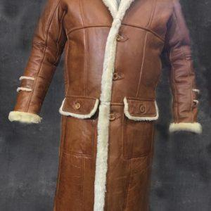 MEN B3 BOMBER AVIATOR WWII PILOT POLICE RETRO SHEEPSKIN TAN LEATHER DUFFLE COAT
