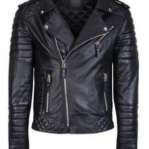 Mens Quilted Black Diamond Real Lamb Skin Slim fit Black Leather Jacket