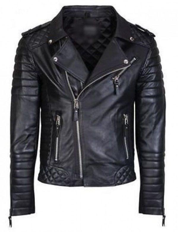 Mens Quilted Black Diamond Real Lamb Skin Slim fit Black Leather Jacket