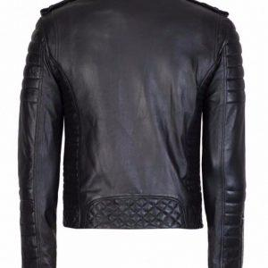 Mens Quilted Black Diamond Real Lamb Skin Slim fit Black Leather JacketB