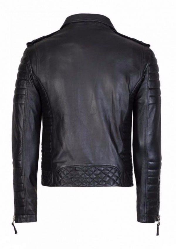 Mens Quilted Black Diamond Real Lamb Skin Slim fit Black Leather JacketB