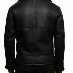 Men's Bomber Black Aviator RAF B-3 Shearling Fur Winter Genuine Leather JacketB