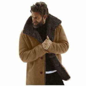 Mens Vintage Brown Real Fur Winter Coat Real Sheepskin Shearling Leather Coat