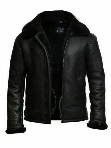 Men's Bomber Black Aviator RAF B-3 Shearling Fur Winter Genuine Leather Jacket