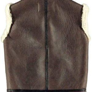 Mens B3 Bomber Real Sheepskin Shearling Pilot RAF Winter Brown Leather Vest1