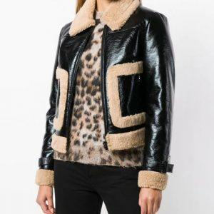 WOMEN B3 BOMBER RAF AVIATOR FLYING SHEEPSKIN SHEARLING BLACK LEATHER JACKET
