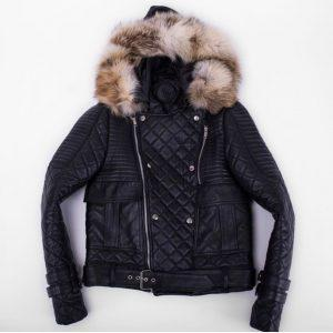 Mens Bomber Winter Quilted Diamond Fur Trim With Real Raccoon Fur Black Leather Jacket