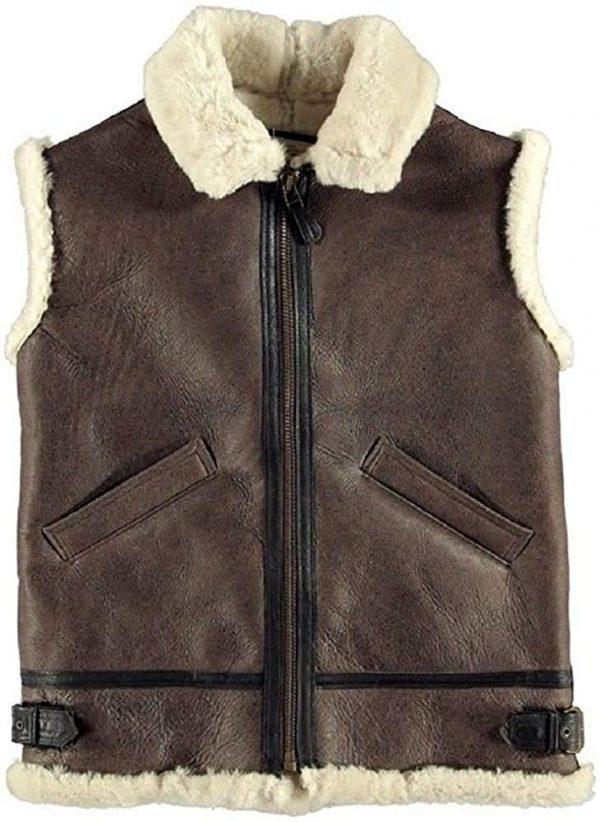 Mens B3 Bomber Real Sheepskin Shearling Pilot RAF Winter Brown Leather Vest