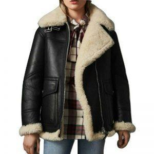 WOMEN B3 BOMBER AVIATOR FLYING REAL FUR SHEEPSKIN SHEARLING BLACK LEATHER JACKET