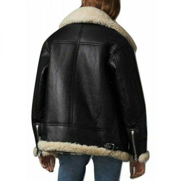 WOMEN B3 BOMBER AVIATOR FLYING REAL FUR SHEEPSKIN SHEARLING BLACK LEATHER JACKET1