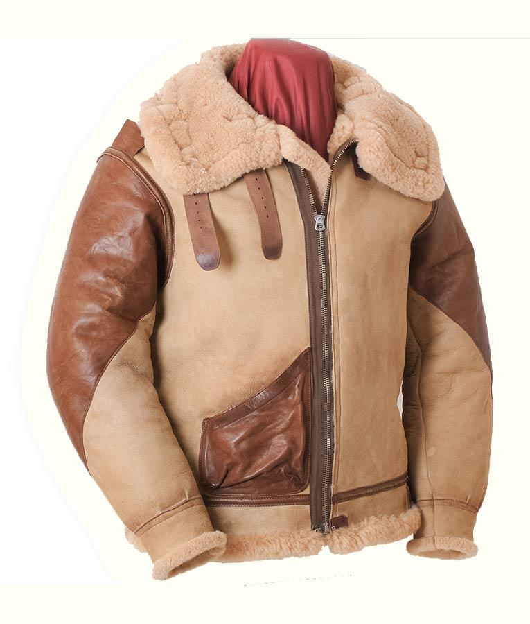 Mens Air Force Pilot Aviator Style 1 Black Bomber Airborne Flying Real Sheepskin Leather Jacket